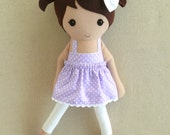 Fabric Doll Rag Doll Brown Haired Girl in Purple Polka Dotted Sundress