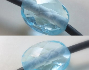 1 - Large Hole - AAA Sky Blue Topaz - Checker Cut Faceted Focal Oval Nugget Bead, 2mm Big Drill Hole Bead, Loose Semi Precious Gemstone Bead
