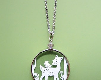 Papercut Deer Necklace - Woodland Friends - Original Handcut Paper in Glass Pendants with Silver Chain