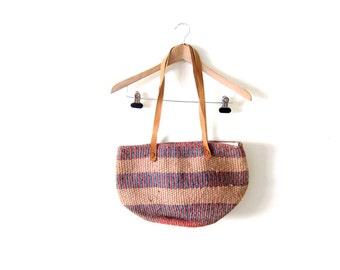 Sisal Market Bag / Jute Tote Bag / Leather Handle Purse