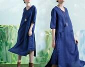 linen tunic dress, blue linen dress, linen shirt dress, long sleeve dress, linen winter dress, linen tunic, linen kaftan dress, plus size