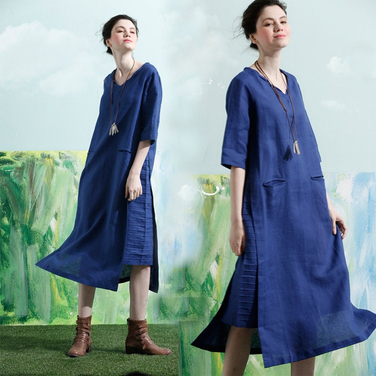 Blue linen dress | Etsy