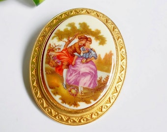 Porcelain Cameo Brooch , Gold Oval Frame Romantic Couple , Vintage Victorian Collectible Jewelry , Gift For Women