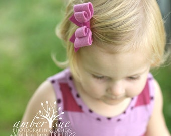 M2M Matilda Jane. Hair Bow. Big Bow. Berry. Felt Bow. Double Bow. Pink Hair Clip. Barrette. Toddler Hair Accessory HC1278