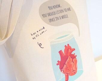Anatomical Heart Cotton Canvas Bag