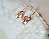Rose Gold Earrings Flower Earrings, Dainty Rose Gold Vermeil Earrings, Wife Gift Rose Gold Jewelry, Rose Gold Drop Earrings, Dangle Earrings