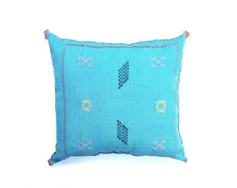 Turquoise Moroccan Cactus Silk Pillow Cover Sabra Silk Cushion Cover Embroidered Pillow