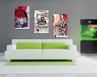 3 Panels,Soho New York old wall, Canvas oil printing.