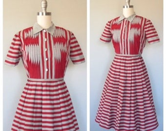 50s cotton dress size small - medium / vintage cotton dress / vintage day dress