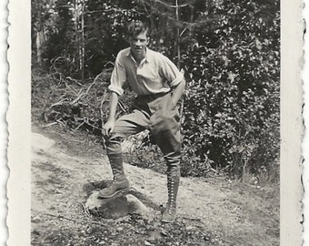 Old Photo Man in Woods Hiking Tall Lace Up Boots 1920s Photograph Snapshot vintage