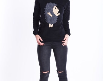 hedgehog sweater, black sweater, warm sweater, sweatshirt, hedgehog shirt, hipster sweater, animal sweater, hedgehog gift, gift for her