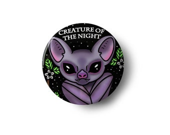 Creature Of The Night Pinback Button - Bat Goth Pin