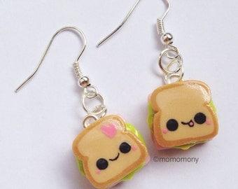 Super Cute Little Sandwiches Lunch Earrings