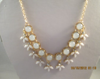 Gold Tone Pendant Chain Necklace with Opal Beads and White and Clear Rhinestone Dangles