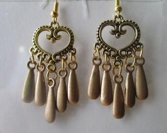 Gold Heart Earrings with Gold Teardrop Dangles