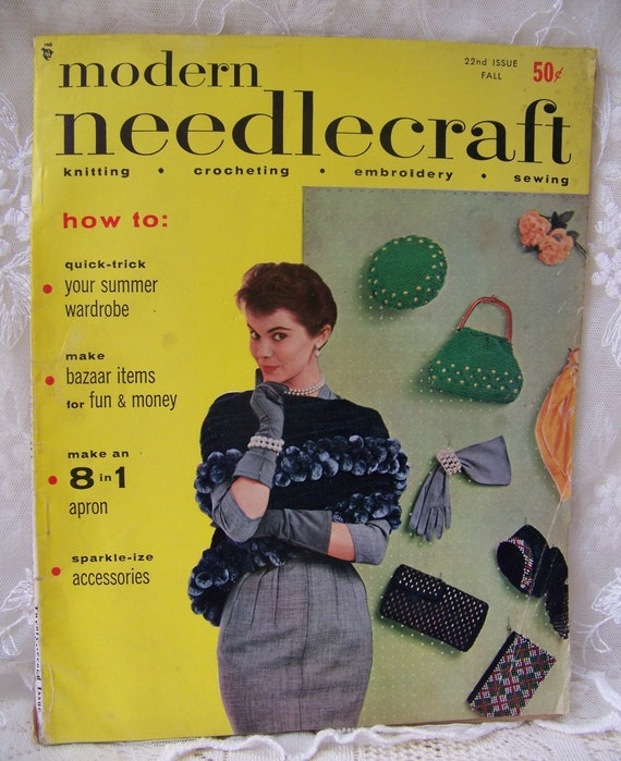 Vintage modern needlecraft fall magazine beach