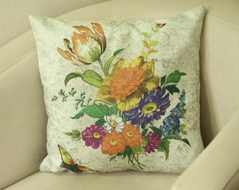 16''x16''Multicolor Flowers Pillow Case, Wildflowers Pillow, Throw Pillow Cushion, Sofa Pillow, Floral Cushion Cover, Valentine Day