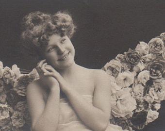 Edwardian Lady As A Fairy Vintage Photo Fantasy Postcard