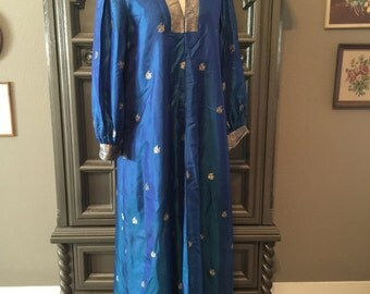 60s Ethnic Silk Jewel Blue and Gold Hostess Dress