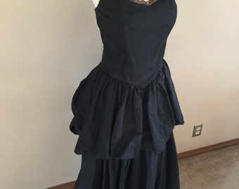 50s Bubble Flounce Black Evening Gown