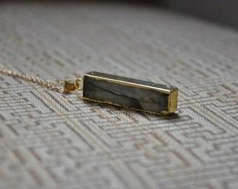 Labradorite Gold Bar Necklace