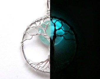 GLOW in the DARK Moon Tree of Life Necklace with Aqua Green, Glowing, Glass Moon, SOLID Silver