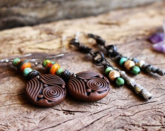 SET OF 2: Wild Woman Earrings. Clay & Gemstone. Organic Earthy Bohemian Style... Clay with Healing Gemstone and Crystal Jewelry.