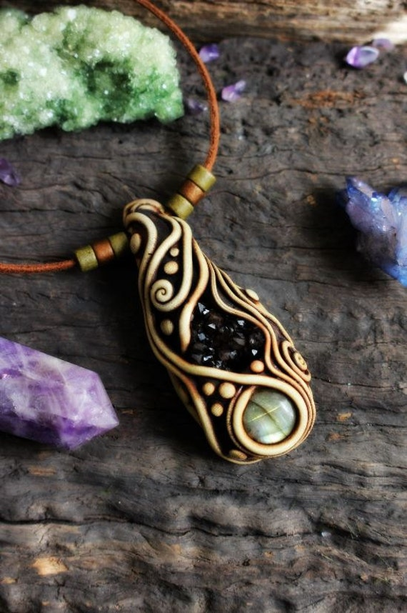 Sacred Spiral Necklace With Labradorite And Amethyst