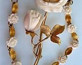 Rose Brooch, Carved Organic Bone, Double Blossom Flower, 14k goldfilled, Matching Rose Leaf Bracelet, Signed, Valentine Brooch