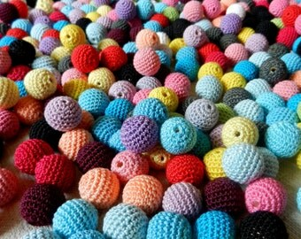 Crochet beads 5 PCS 16 mm  Wooden crochet cotton beads Crocheted bead Round beads Necklaces