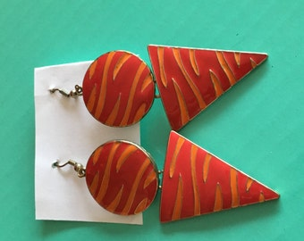 Handmade red & gold geometric  earrings free shipping