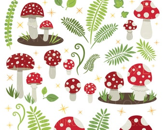 Toadstool Clip Art | Amanita Muscaria Red Mushroom Fungi Forest Fantasy | Digital Illustration Stock Icons | Personal or Commercial Use