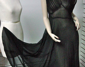 1950s Black Nylon Chiffon Gown with Full Sweep Bust 36-38, Waist 32