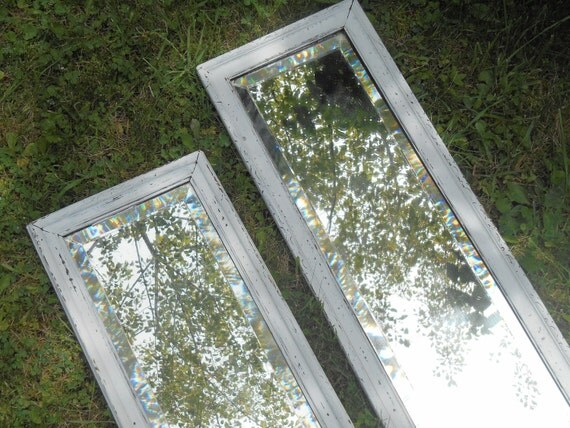 Vintage Narrow Beveled Full Length Wall Mirror In Shabby