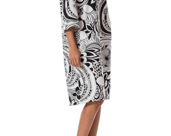 1960s MOD B&W Floral Psychedelic 3/4 Sleeve Dress SIZE: L, 12
