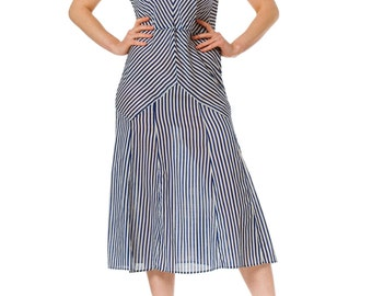 1920-30s Striped White Blue Sailor Sleeveless Dress SIZE: S, 4