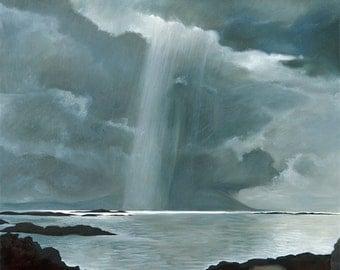 The Sound of Rum Scotland - light on an island, oil on canvas Giclée print