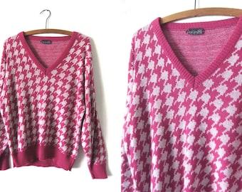 Herringbone Deep V Neck Sweater - Fuchsia Izod Club Plunging Neckline Mod Slouchy Fit 80s Vintage Sweater - Womens Large