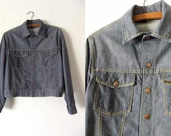 Roebucks Vintage Jean Jacket - Work Wear Inspired Classic Grey Blue Denim Jacket - Womens Small