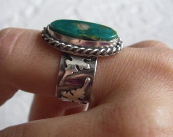Green turquoise ring size 9 1/2