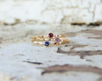 Tiny Gemstone Ring, Triple Ring Set, Triple Stone Ring, Stackable Rings, Stacking Rings, Gold Rings, Silver Ring, Colorful Rings, Midi Rings