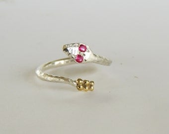 Serpent Ring, Snake Wrap Ring- with 18k Gold Rattle- Precious Gemstone eyes- White or Colored Diamond, Sapphire, Ruby, Hand made custom Ring