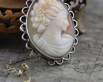 Hallmarked Sterling Silver Cameo Lady Brooch with Safety Chain Signed F&R.B