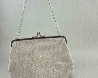 1960s Silver Metallic Fabric Small Clutch Bag with Cream Lining and Short Chain