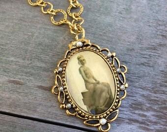 Flapper Girl Necklace/Edwardian/Art Deco
