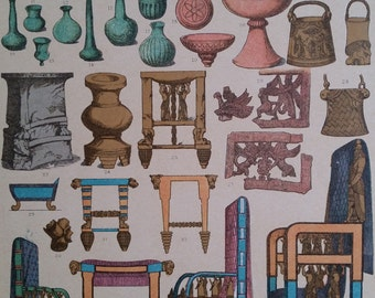 1890s Large Color Print Furniture, Household Babylonians & Assyrian Hottenroth, Wall Art Deco