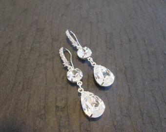 Clear Swarovski Crystal Earrings/Bridal Jewelry/Bridesmaid Earrings/Crystal Drop Earrings/Wedding Earrings/ Bridesmaid Jewelry/Clear Crystal