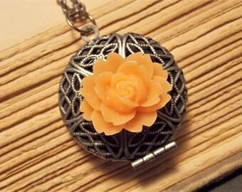Orange and Silver Flower Locket