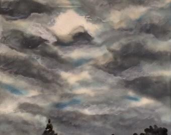 peeking through  - 5x5 - original encaustic painting - deep side series - peaceful, impressionist, landscape, clouds, cloudy day