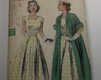 Vintage Butterick Pattern 6130 Misses Size 14 Dress and Redingote Ensemble